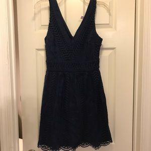 ModCloth Navy Lace V-Neck Sheath Dress